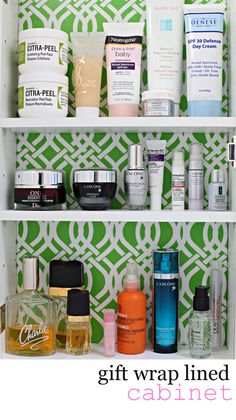 Get a little color therapy every time you open your medicine cabinet.  How to line a cabinet so that you can easily change the look.