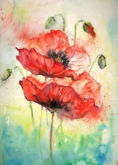 Oil Painting Flowers Art Dutch Floral Still Life Monet Canvas Wall Art Mosaic Flower Art Gerbera Daisy Painting Watercolor Poppies, Watercolor Illustration, Poppies Art, Simple Watercolor, Tattoo Watercolor, Watercolor Landscape, Watercolor Animals, Watercolor Background, Abstract Watercolor