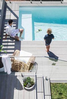 Swimming Pools Backyard, Swimming Pool Designs, Pool Decks, Pool Landscaping, Mission Style Homes, Hamptons Style Homes, The Hamptons, Glass Pool Fencing, Kidney Shaped Pool