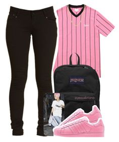 """""""5/24/2016"""" by yeauxbriana on Polyvore featuring JanSport, adidas and Mark Davis"""