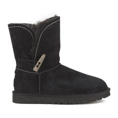 UGG Australia Women's Meadow Fold Over Sheepskin Boots ($305) ❤ liked on Polyvore featuring shoes, boots, ankle booties, ankle boots, black, black bootie boots, short ankle boots, black bootie and cuff ankle boots