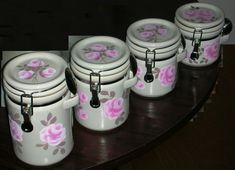 OGGI CANISTER SET WITH PINK ROSES 4 PIECES ej shabby chic cottage hand painted #GIGI #cottage #shabby #french country #pink #roses