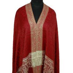 "Ibaexports Red Elegant Wool Blend Shawl Large Jamawar Jacquard Paisley Style Weaving Stole Scarf India 80"" X 40"" Inches IBA. $43.99"