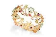 Brazalete de oro con piedras preciosas multicolor engarfiadas, de Brumani