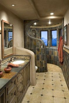 Mediterranean 3/4 Bathroom with High ceiling, Ms international - tuscany classic wall and floor tile, Wall sconce, Flush