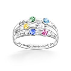 Personalized Family Ring With Birthstones And Engraved Names