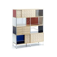 Vitra storage unit ESU bookcase by Charles & Ray Eames Living Room Cabinets, Living Room Storage, Bookcase Storage, Storage Cabinets, Shelving Units, Bauhaus, Home Furniture, Furniture Design, Contemporary Bookcase