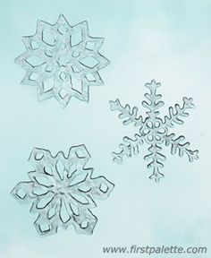 Snowflake Window Clings Tutorial - Made using white glue. This may work to stick paper snowflakes on and be able to get them off in one piece.