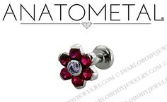 18g 16g 14g 12g Labret Anatometal Titanium 7mm Gem Flower Flatback Labret Post Stud Lip Ring ($67)