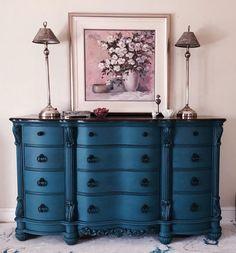 Royal Blue Rich Repainted Bureau Dresser