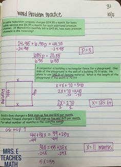 solving equations word problems practice for interactive notebooks