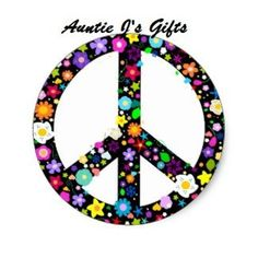 Floral Peace Symbol - Flowery hippy or hippie sign - flower power - colorful flowers - on blue, Wall Clock, 10 by Hippie Peace, Hippie Love, Hippie Art, Hippie Chic, Emo, Magnetic Bumper Stickers, Blue Wall Clocks, Hippy Gifts, Love Is Free