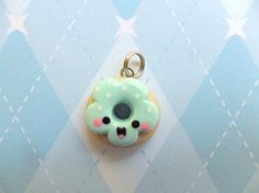 Kawaii Donut Charm Cute Polymer Clay Charm via Etsy