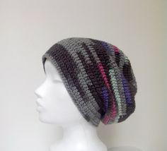 Womens slouchy hat Slouchy tam hat Multicolor by HappyWoollies Crochet Beanie, Knitted Hats, Crochet Hats, Slouchy Hat, Knitting, Vienna, Trending Outfits, Unique Jewelry, Handmade Gifts