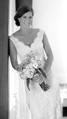 Custom, V-neck 'Jessica' lace gown for a Modern Trousseau Charleston bride.    Image courtesy of Gene Ho Photography.