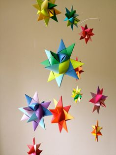 Hanging Nursery Origami Star Mobile -'Vela' Rainbow on Etsy, $68.00