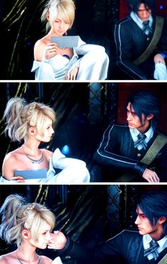 Noctis actually takes his glove off to touch Luna's cheek...awwww!!!!