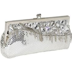 "Sale: 	$159.59 | Whiting and Davis Waterfall Framed #Clutch | Color: Silver |     10"" shoulder drop,     Top quality brass metal mesh with silver leather, chains and genuine Swarovski Elements crystals,     Kiss lock closure on frame,     Drop-in double-link chain with 9.5 inch drop length,     One interior slide pocket,     Signature Whiting Davis logo polyester lining,"