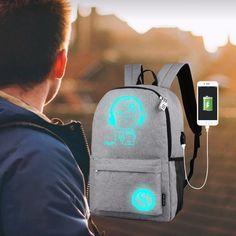 Luminous Anti-Theft Backpack with USB Charger port. visit also - https://wonderfullifecorner.blogspot.com/