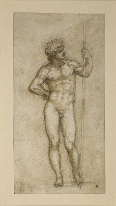 Leonardo da Vinci (1452-1519). A nude man..., c.1504, Pen and brown ink over black chalk, 10.8 x 5.4 cm.  http://www.npm.gov.tw/exh96/britishmuseum250/en/exh08.html