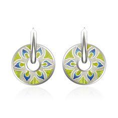 earrings, silver, jewellery enamel, cloisonne enamel. silver