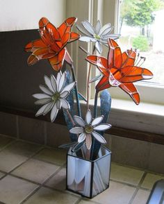 Custom Made Stained Glass Centerpiece/ Sculpture- Tiger Lilies And Daisies