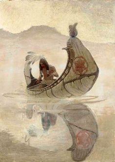 Newell Convers Wyeth Hiawatha Fishing signed 'N. Wyeth' (upper right) oil on canvas 37 x in. Native American Artwork, American Indian Art, Native American Indians, American Artists, Nc Wyeth, Andrew Wyeth, Jamie Wyeth, Edmund Dulac, Wow Art