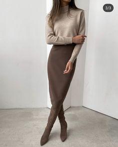 Winter Fashion Outfits, Work Fashion, Fashion 2020, Modest Fashion, Autumn Fashion, Fashion Looks, Women Fall Outfits, Long Skirt Fashion, Workwear Fashion