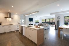 From the kitchen it is an easy open flow into the living area