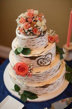 Wedding Cake with a Birch Bark Look| Navy & Peach Bay Harbor, Michigan Destination Wedding|Photographer: Jennifer Weems Photography