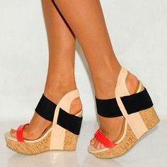 Shoespie Color Block Wooden Heel Wedge Sandals