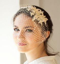Pizzo velo gabbia in beige chiaro o avorio, completa di velo gabbia con pizzo, velo da sposa