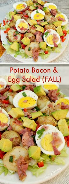 Potato Salad loaded with Bacon and Egg, serve slightly warm and perfect as a light dinner #FallSalad #Salad