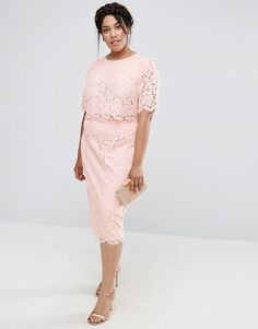 ASOS Curve | ASOS CURVE Lace Crop Top Midi Pencil Dress