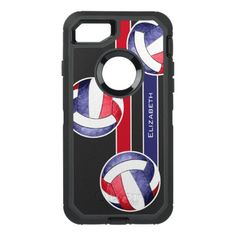 women's volleyball red white blue OtterBox defender iPhone 7 case