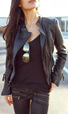 Fabulous Leather Jacket and Jeans Combination Street Style Fashion