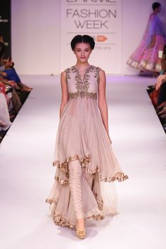 Anushree Reddy Cream #Anarkali #Suit At Lakme Fashion Week 2014.