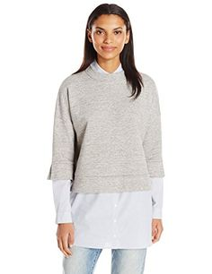 French Connection Womens Dune Mix Sweat Top Grey MelangeStripe L >>> Visit the image link more details. (This is an affiliate link) Grey Top, Blue Grey, Gray, White Sweaters, Sweaters For Women, Pullover Sweaters, Women's Sweaters, White Pants, Grey Sweatshirt