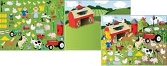 Farm Sticker Scene (2shts) :   These Farm Sticker Scenes will allow your party guests to let their imaginations grow!  Includes 1 x background and 1 x sticker sheet with 60 assorted stickers.  Paper. Background: 27.9 cm x  21.6 cm; stickers: 1.27 cm - 7.62 cm x 1.27 cm - 6.35 cm.