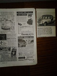 Vintage Jeep Original Print Ads from 1947 Magazine Streamlined Sedan, Engines