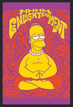 Quadro Poster com Moldura Homer Simpsom Meditando 60x90cm - Decore Pronto