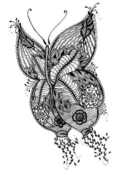 Henna butterfly - black and white - mehndi butterfly