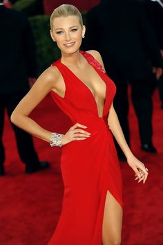 #Blake Lively: Rocking this red sexy gown.
