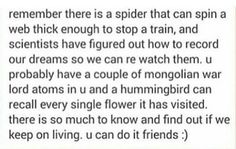 I'm sorry, is that spider fact supposed to make me feel better? Because now I just don't want to go outside.