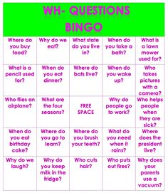Speech and Language LaunchPad: Wh- Questions Bingo-includes 4 game boards and 3 pages of bingo chips, 24 questions total Speech Therapy Activities, Language Activities, Writing Activities, Speech Language Pathology, Speech And Language, Language Arts, Wh Questions, This Or That Questions, Receptive Language