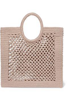 Mizele - Sunbath crocheted cotton-blend tote - diy and joy Crochet Motifs, Bead Crochet, Crochet Patterns, Crochet Tote, Crochet Shawl, Best Beach Bag, Beach Bags, Straw Tote, 2020 Fashion Trends