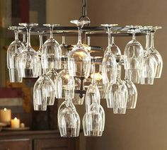 A chandelier and wine rack made especially for the wino's myself included.