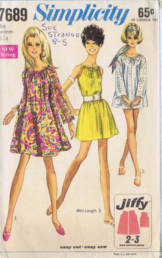 VINTAGE TENT DRESS SEWING PATTERN 60s SIMPLICITY 7689 SIZE 12 BUST 34 HIP 36 CUT