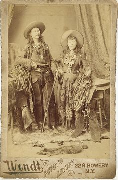 Cabinet Card of Texas Ben and Texas Annie, Wild West performers.