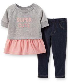 Carter's Baby Girls' 2-Piece Peplum Top & Leggings
